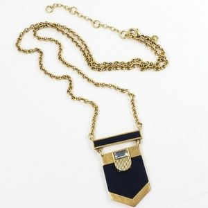 J. Crew Jewelry - J. Crew Pendant Necklace Art Deco Dark Blue